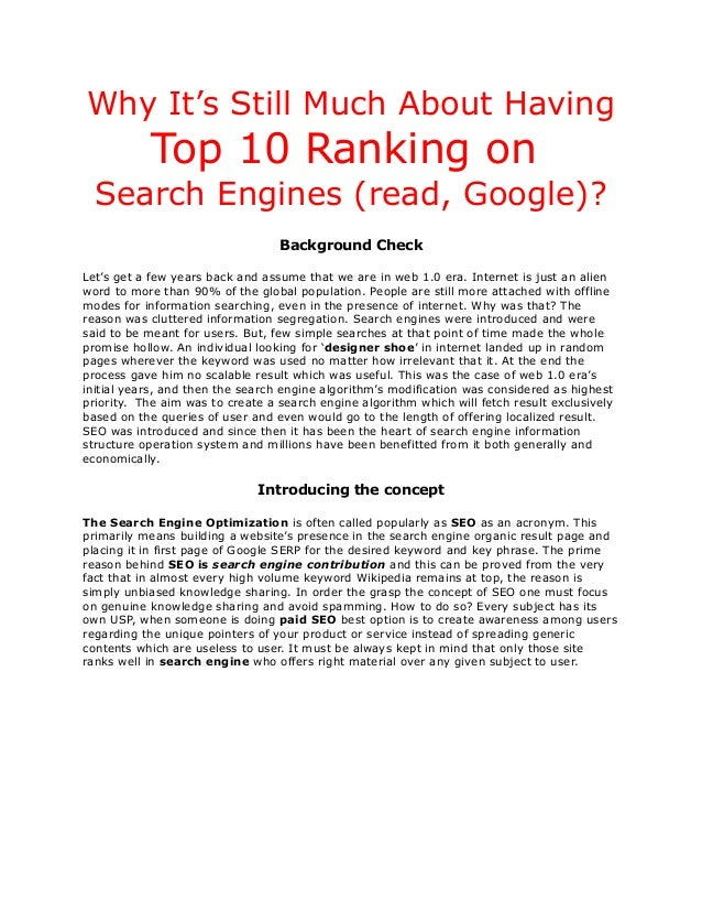 Why It's Still Much About Having  Top 10 Ranking on Search Engines (read, Google)? Background Check Let's get a few years ...