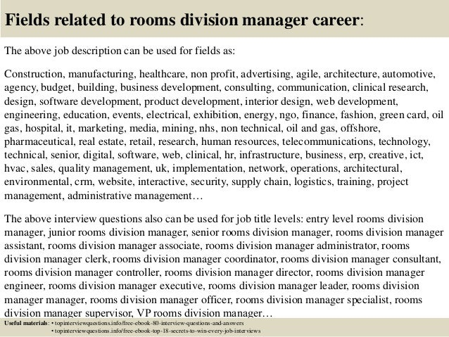 Top 10 rooms division manager interview questions and answers