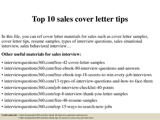 Top 10 sales cover letter tips