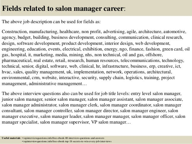 Salon Manager Description ... 17. Fields related to salon manager ...