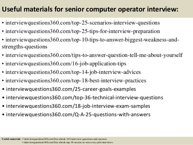 top  senior computer operator interview questions and answers       useful materials for senior computer operator
