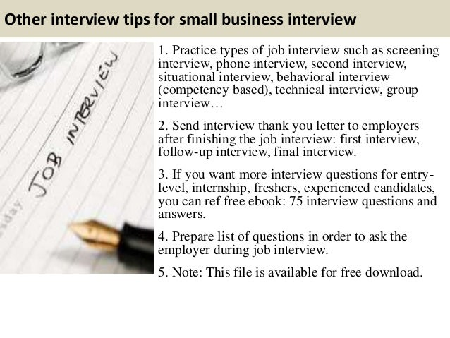 I need a small business owner interview, questions in description.?