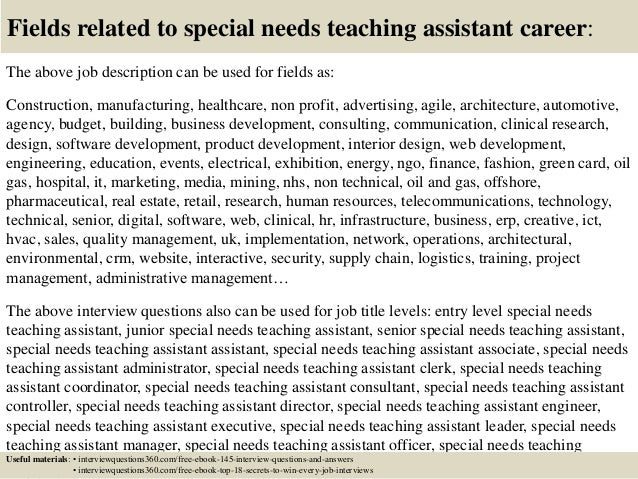 Cover Letter For Special Needs Assistant