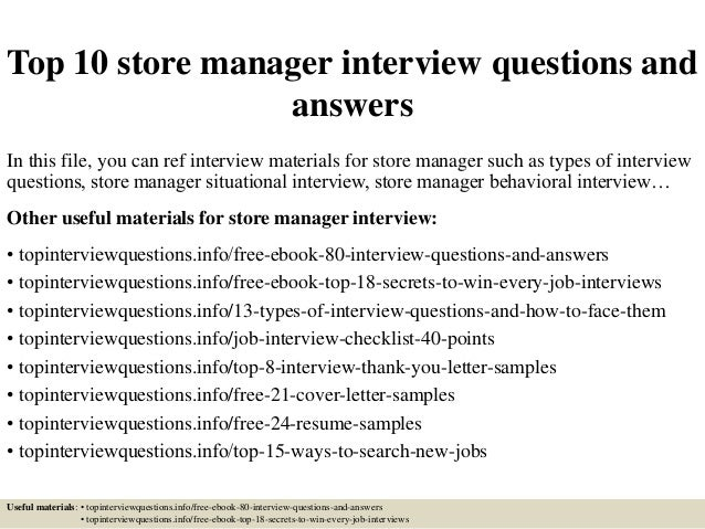 Top 10 Store Manager Interview Questions And Answers