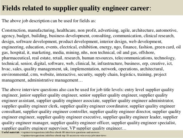 Supplier Quality Engineer Resume Quality Manager Resume .