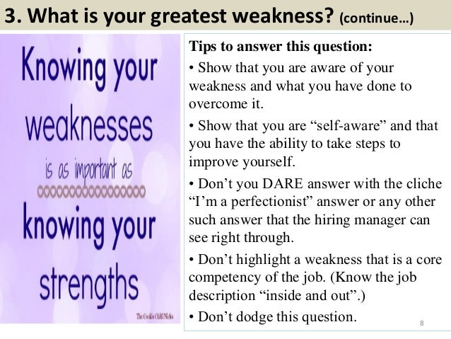 interview strengths and weaknesses list