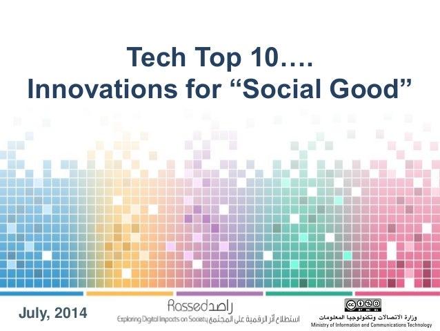 "Tech Top 10... Innovations for ""Social Good"""