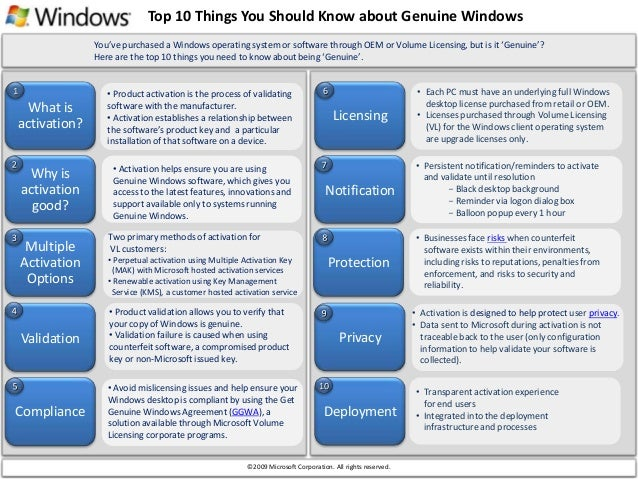 Top 10 Things You Should Know about Genuine Windows What is activation? Why is activation good? • Product activation is th...