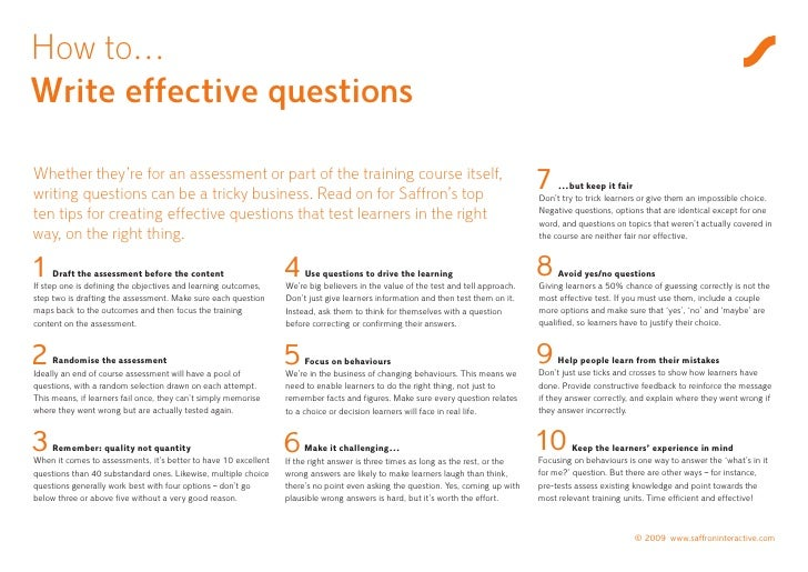 Top tips for writing effective e-learning questions