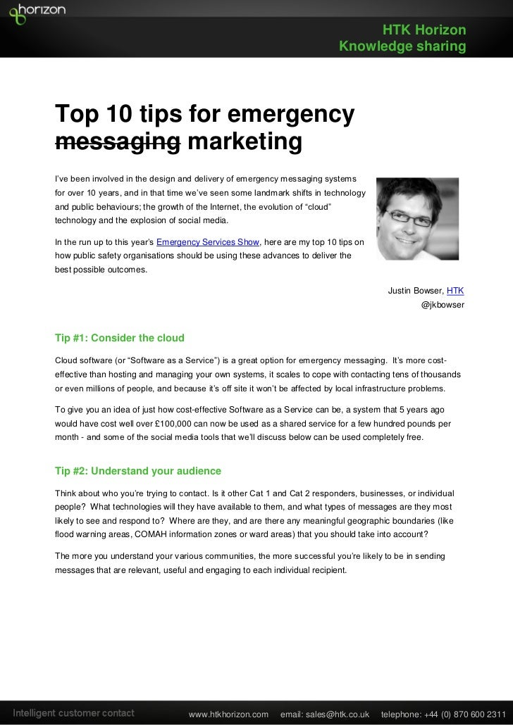 Top 10 tips for emergency messaging - HTK Horizon