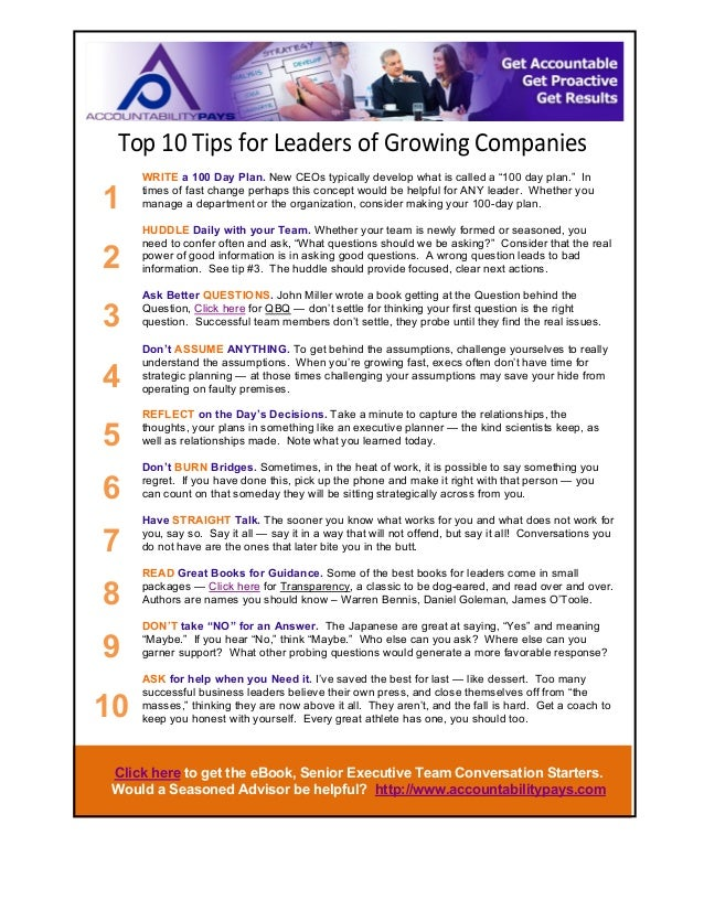 """Top$10$Tips$for$Leaders$of$Growing$Companies$  1  WRITE a 100 Day Plan. New CEOs typically develop what is called a """"100 d..."""