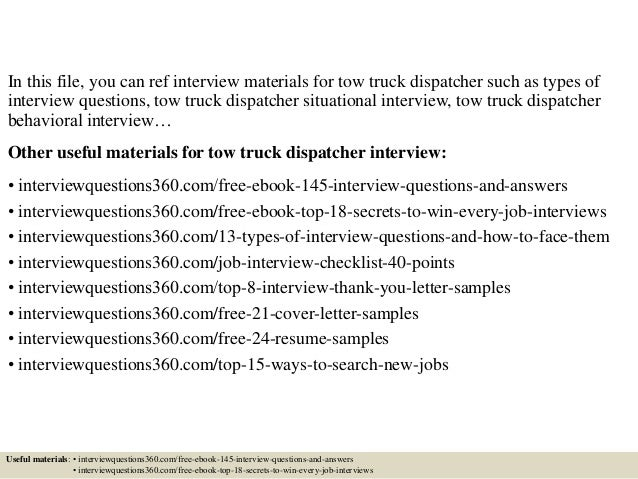 top 10 tow truck dispatcher questions and answers