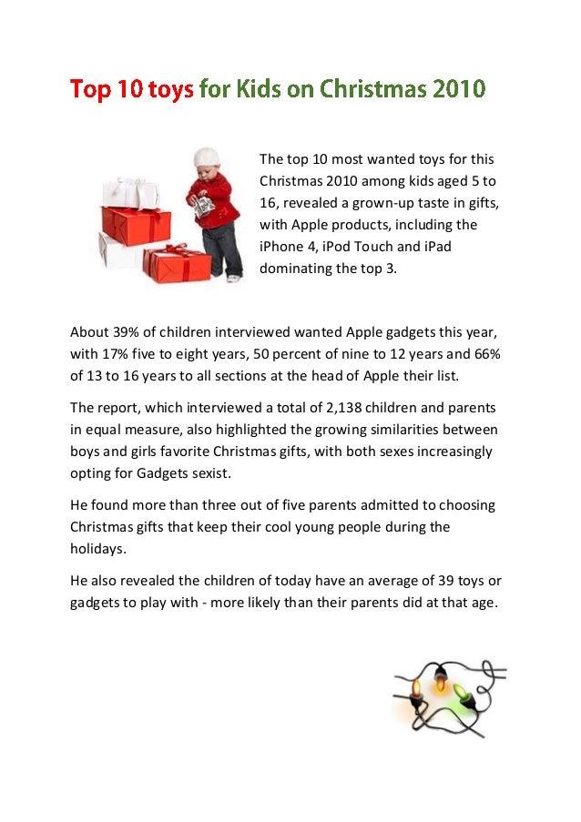 Top 10 Toys for kids on Christmas 2010