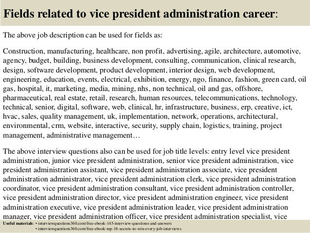 Top 10 vice president administration interview questions and answers