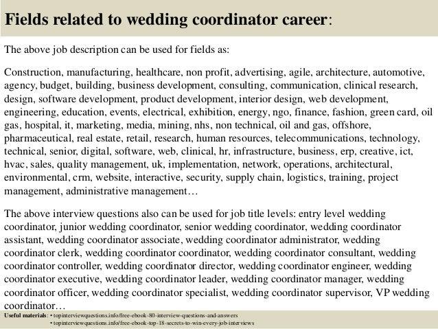 17 Fields Related To Wedding Coordinator