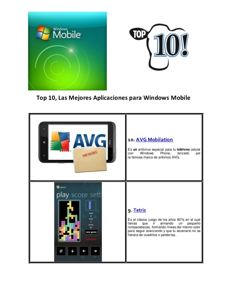 Top 10 windows mobile