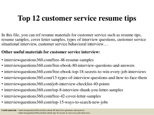 top 12 customer service resume tips