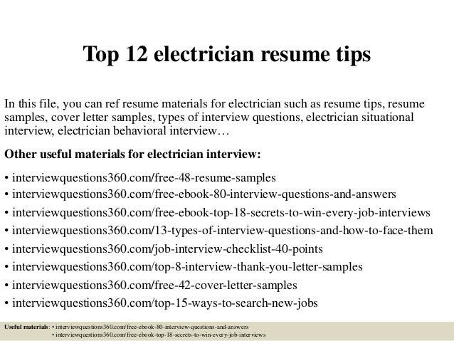 journeyman electrician resume sample