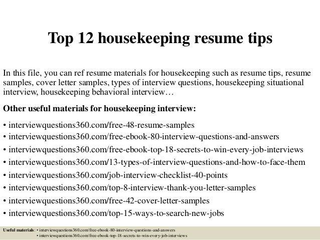resume objective for housekeeping housekeeping supervisor resume