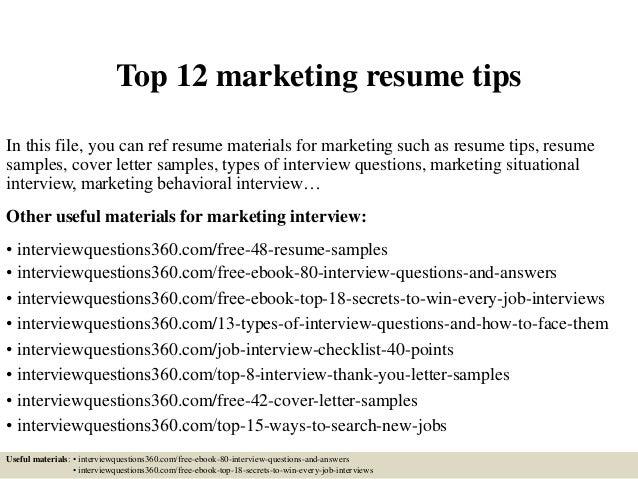 Tips for marketing resume