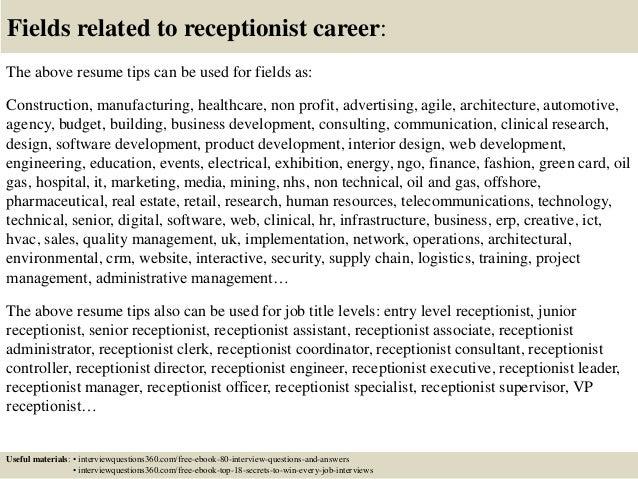 top 12 receptionist resume tips
