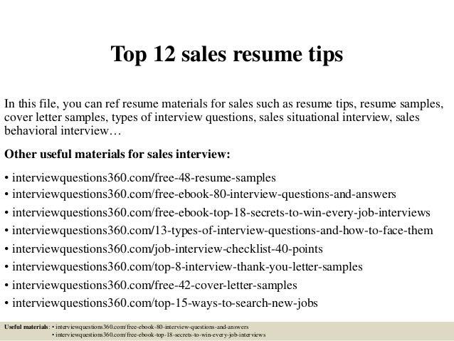 Top 12 Sales Resume Tips
