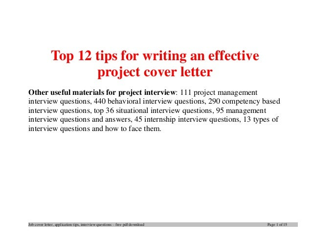 tips for writing cover letters effectively - top 12 tips for writing an effective project cover letter