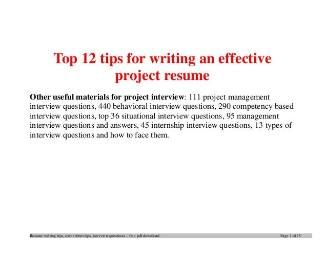 Resume writing tips, cover letter tips, interview questions – free pdf download. Page 1 of 15 Top 12 tips for writing an e...