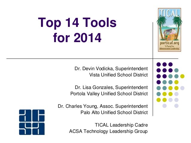 Top 14 Tools for 2014 Dr. Devin Vodicka, Superintendent Vista Unified School District Dr. Lisa Gonzales, Superintendent Po...