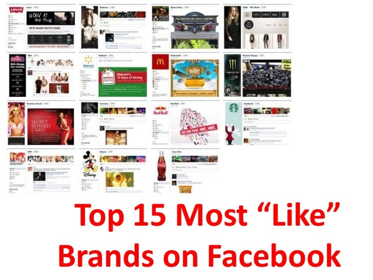 """Top 15 Most """"Like""""Brands on Facebook"""