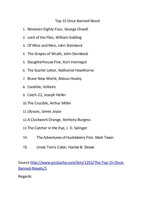 Top 15 Once Banned Novel 1. Nineteen Eighty-Four, George Orwell 2. Lord of the Flies, William Golding 3. Of Mice and Men, ...