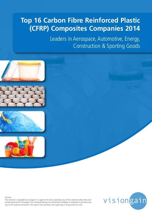 Top 16 Carbon Fibre Reinforced Plastic (CFRP) Composites Companies 2014 Leaders in Aerospace, Automotive, Energy, Construc...