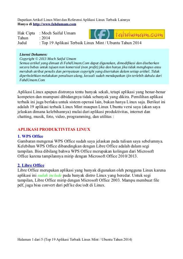Dapatkan Artikel Linux Mint dan Referensi Aplikasi Linux Terbaik Lainnya Hanya di http://www.fahdumam.com  Hak Cipta : Moc...