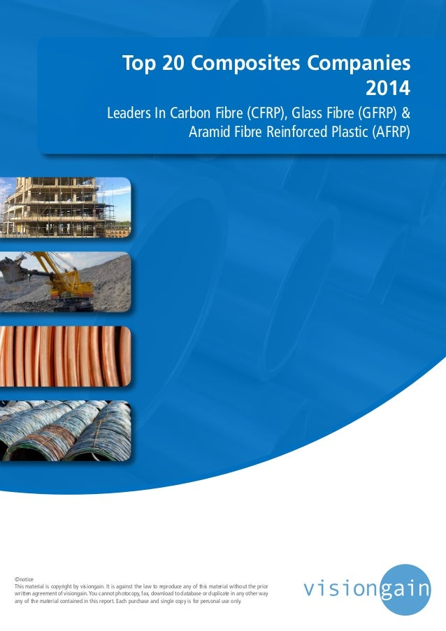 Top 20 Composites Companies 2014 Leaders In Carbon Fibre (CFRP), Glass Fibre (GFRP) & Aramid Fibre Reinforced Plastic (AFR...