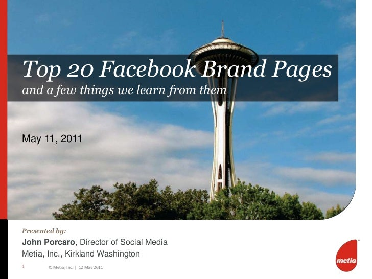 Top 20 Facebook Brand Sites (Metia, Inc., May 2011, John Porcaro)