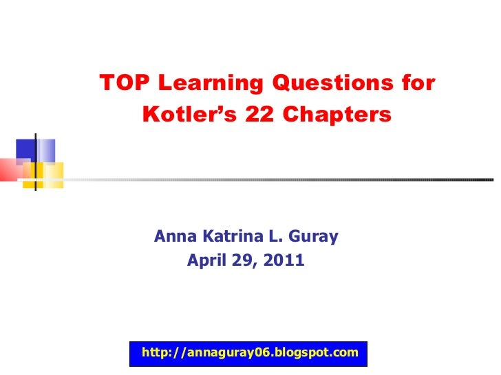 Improved Questions for Kotler's 22 Chapters