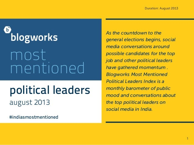 Duration: August 2013 most mentioned political leaders august 2013 #indiasmostmentioned As the countdown to the general el...