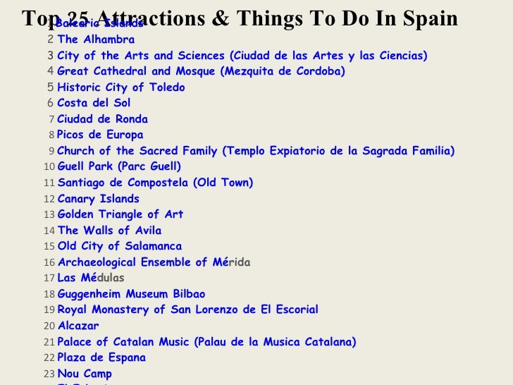 Top 25 Attractions & Things To Do In Spain