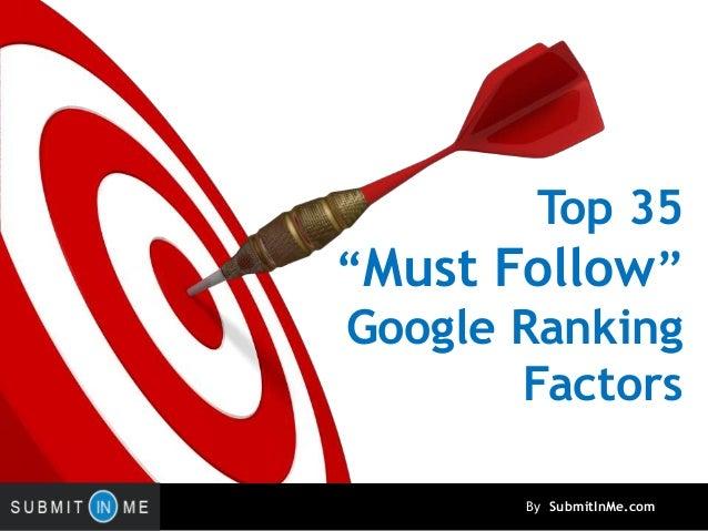 Must Follow Top 35 Google Ranking Factors