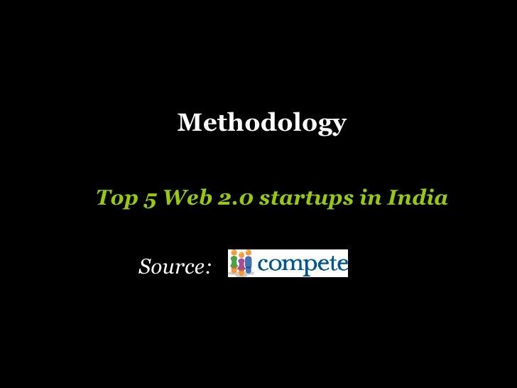 Methodology   Top 5 Web 2.0 startups in India Source: