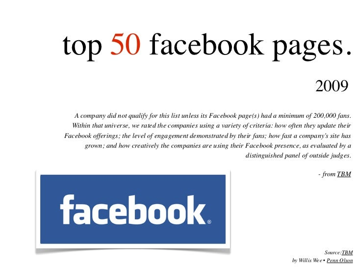 Top 50 Facebook Pages 2009