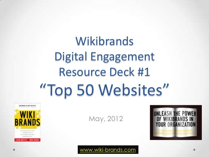 "Wikibrands Digital Engagement  Resource Deck #1""Top 50 Websites""        May, 2012     www.wiki-brands.com"