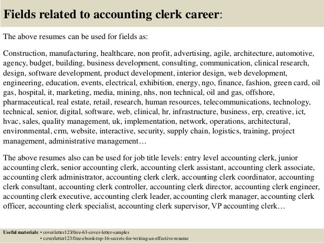 Resume Job Descriptions Experience Accounting Clerk SlideShare