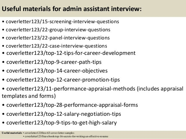top  admin assistant cover letter samples       useful materials for admin assistant