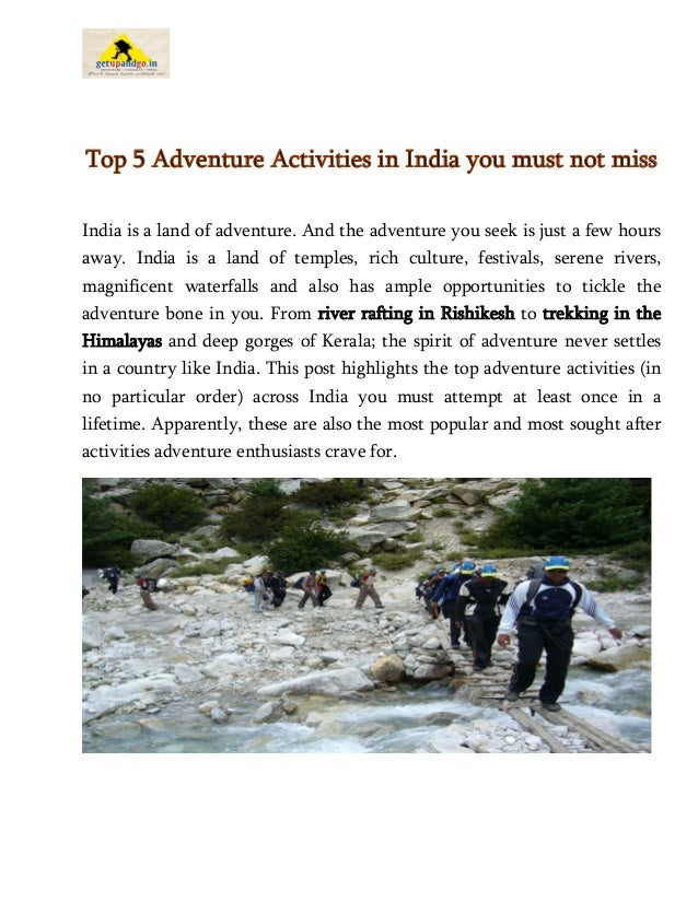 Top 5 Adventure Activities in India