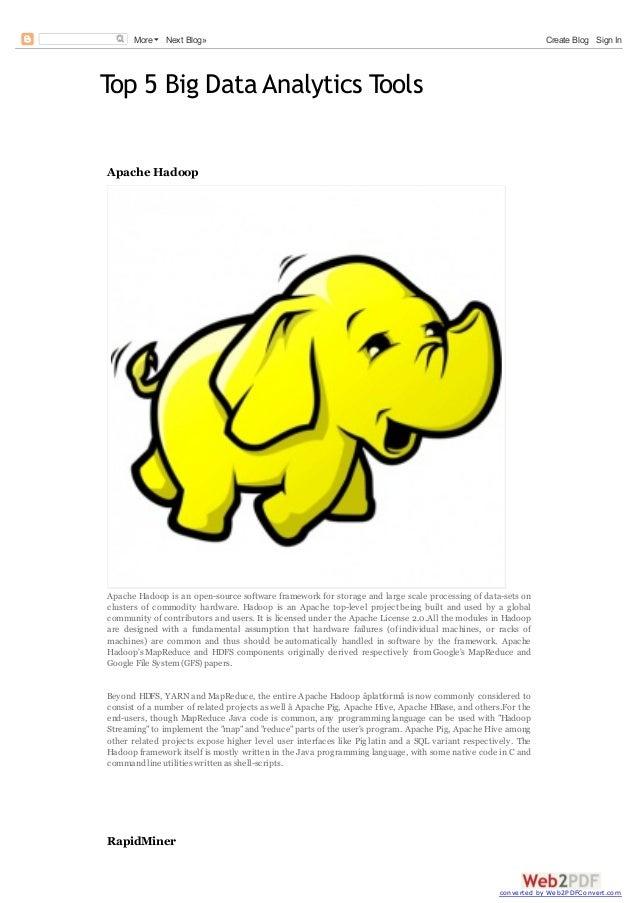 More  Next Blog»  Create Blog Sign In  Top 5 Big Data Analytics Tools Apache Hadoop  Apache Hadoop is an open-source softw...
