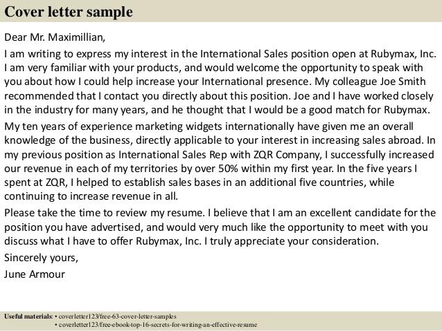 Inside Sales Representative Samples | Cover Letters | LiveCareer com