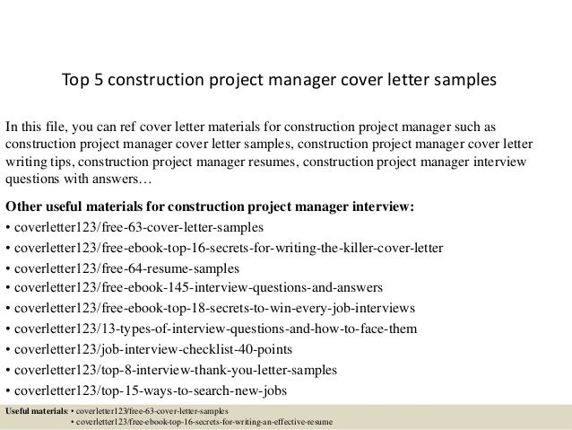 top 5 construction project manager cover letter samples