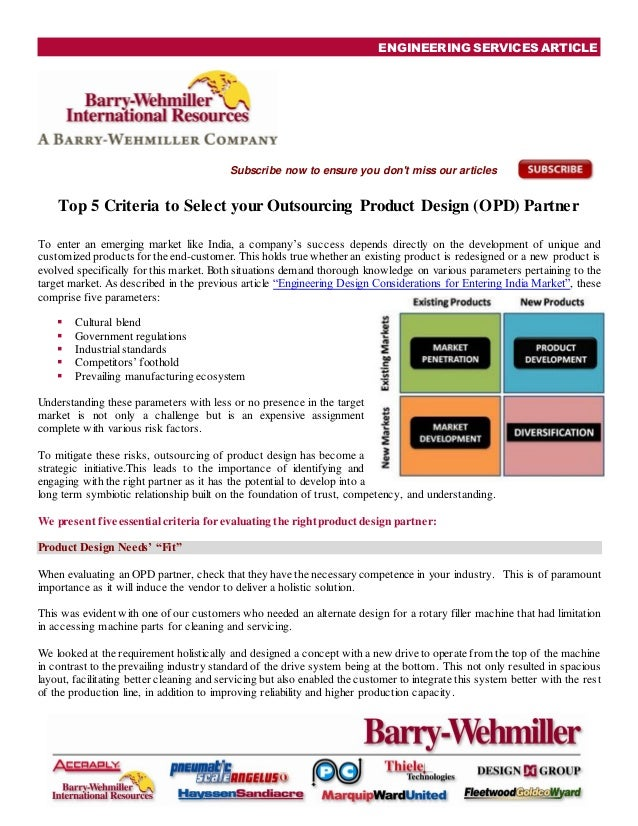 Top 5 Criteria to Select your Outsourcing Product Design Partner