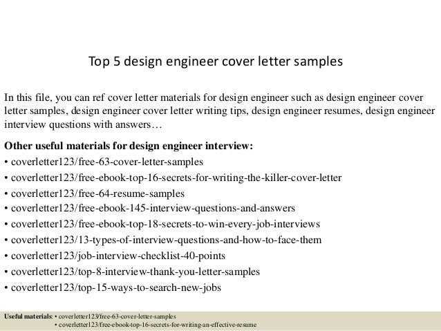 Top 5 design engineer cover letter samples